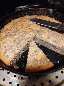 Purple cornbread in a cast iron skillet