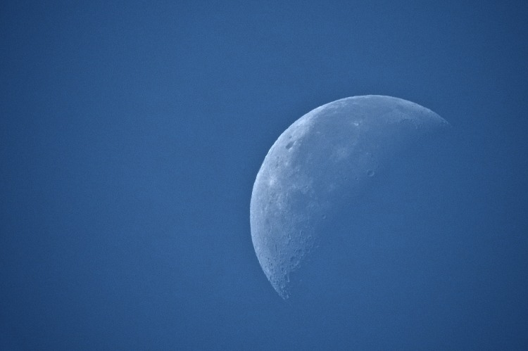 Waning crescent moon in extreme closeup