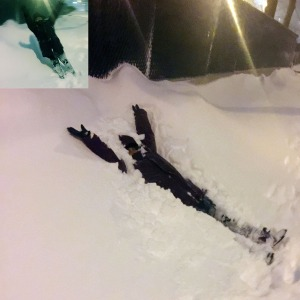 An inset shows an unidentifiable humanoid figure, bundled up for cold weather, tilted as if falling leftward into an angled snowbank almost as tall as the figure. The rest of the photo shows the figure laying at an angle in the snow, arms up in happiness.