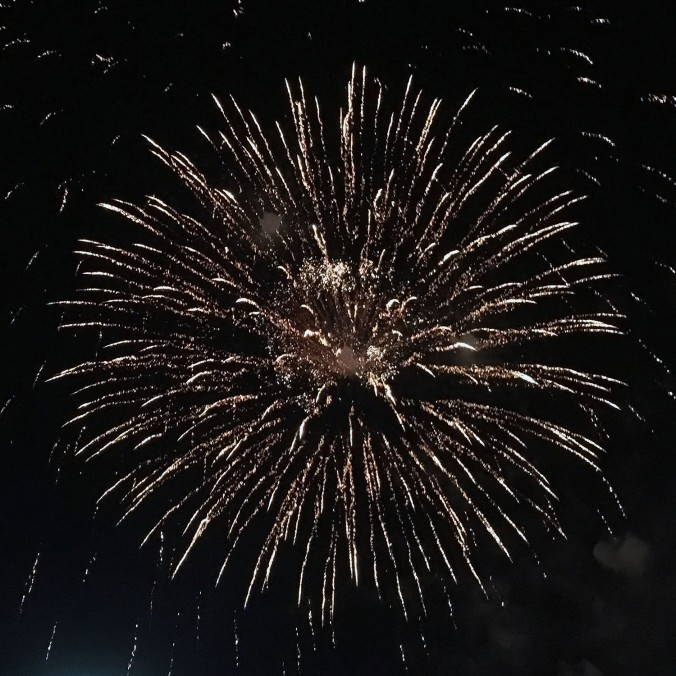 A white globe of fireworks in a night sky