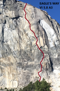 """A photo of Yosemite's El Capitan rock formation in slack gray and beige rock. A red line squiggling up it to mark the """"Eagle's Way"""" rock climbing path. Black text on the upper right hand corner reads """"Eagle's Way VI 5.8 A3."""""""